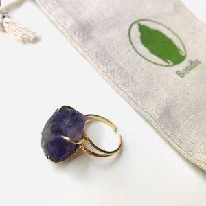 Raw Amethyst Crystal Quartz Ring